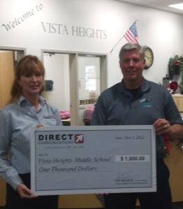 Steve Stewart-Principal of Vista Heights Middle School with Diane Bradshaw of Direct Communications.