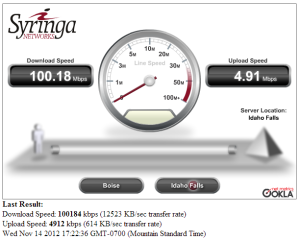 100mb speed test result
