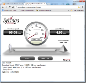 Wired to the router speed test result