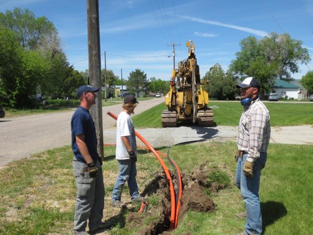 Laying fiber conduit along Rockland center street