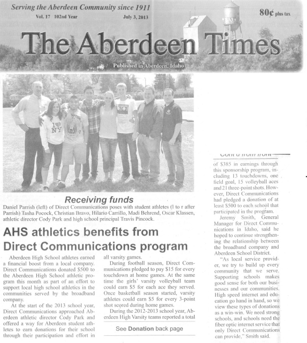 Aberdeen Times Vol 17 102nd year, Aberdeen Idaho, July 3 2013