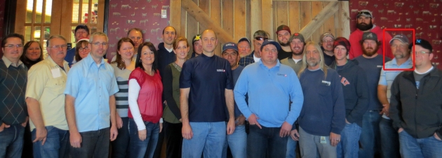 Robby Steele -2nd from far right, at our 2013 company Christmas party.