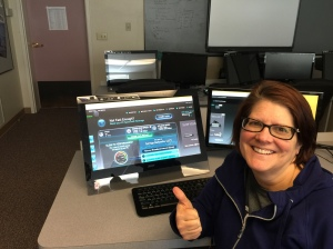 Rockland School District Technology Director, Rose Mathews, gives a thumbs up to her new 100Mb speed from Direct Communications, after running a speed test showing that the school is receiving a fully symmetrical 100Mb speed.